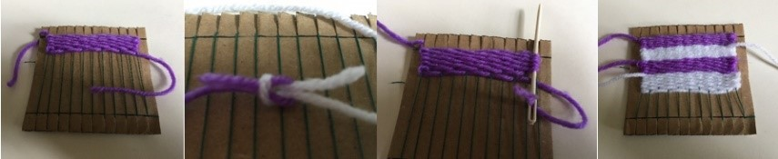 Changing colour by knotting two ends together. Stray threds being woven back through previously woven material.