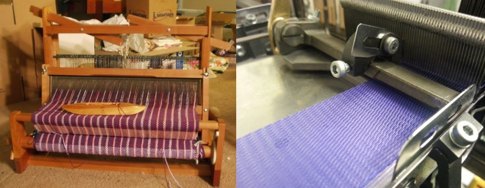 Traditional Wooden loom and modern metal one for use in clean room.