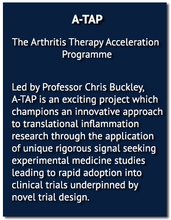 The Arthritis Therapy Acceleration Programme (A-TAP), led by Professor Chris Buckley, is an exciting project which champions an innovative approach to translational inflammation research through the application of unique rigorous signal seeking experimental medicine studies leading to rapid adoption into clinical trials underpinned by novel trial design.