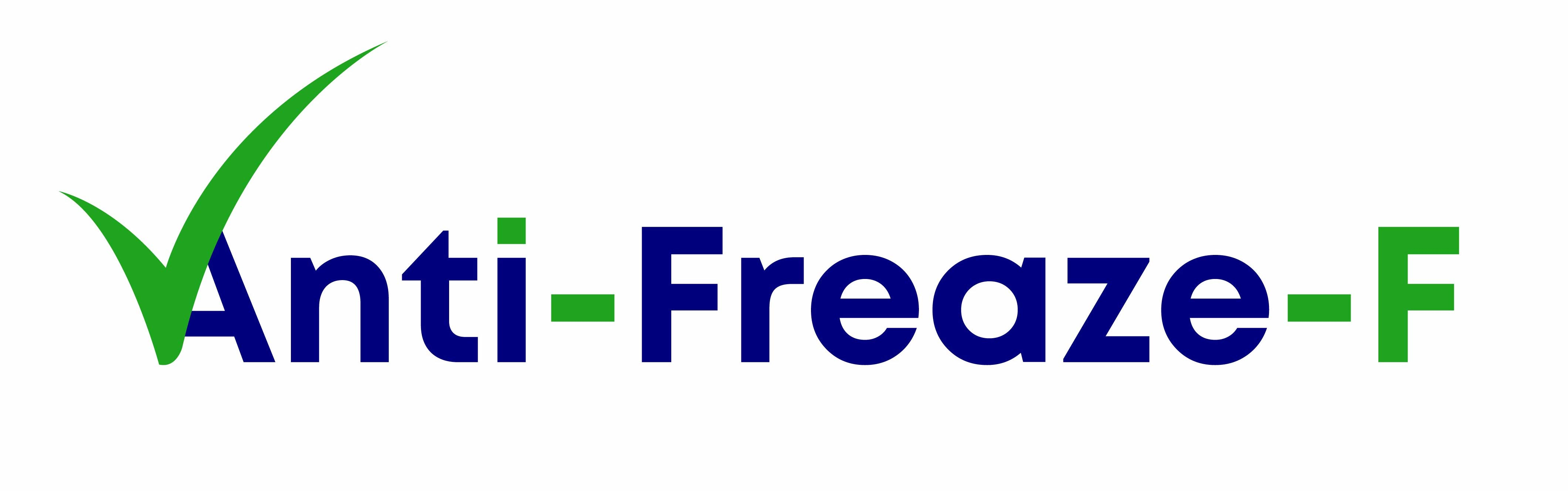 Blue and Green Text writing the word Anti-Freaze-F