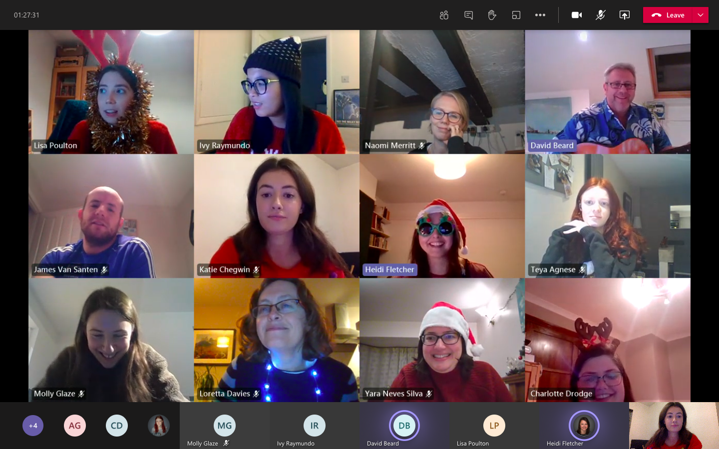 A screenshot of a virtual team meeting