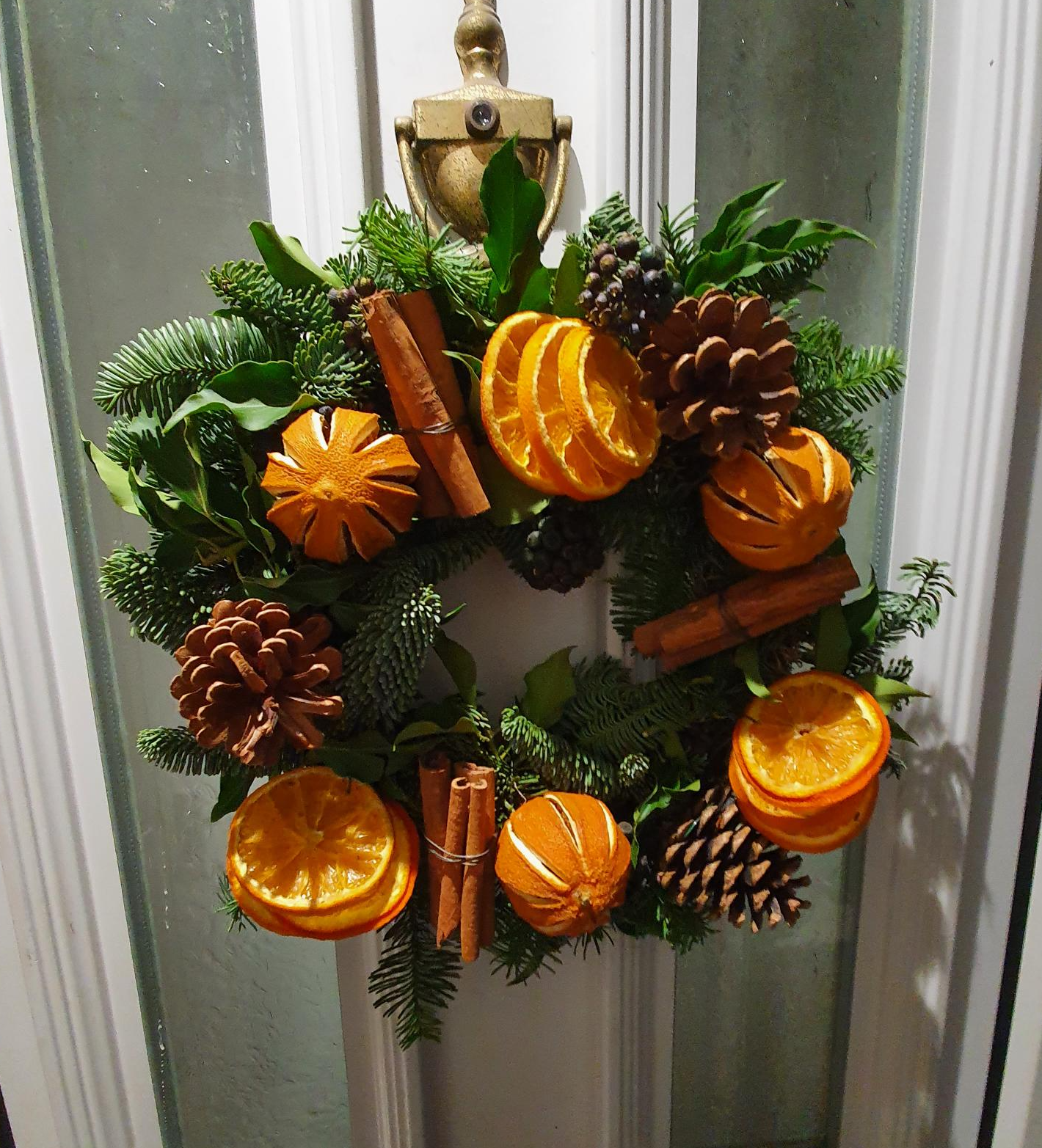 Christmas wreath with pine with dried fruits